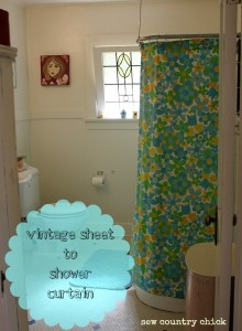 My last post about my bathroom. Promise. Read if you like vintage sheets….