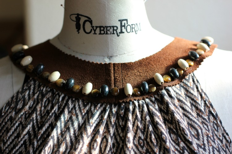 Tribal knit dress with suede beaded collar-Sew Country Chick