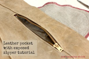 Exposed Zipper Leather Pocket- In Seam Pocket