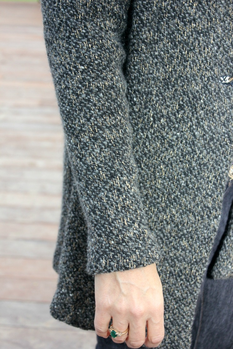 Chunky grey wool knit hooded sweater coat