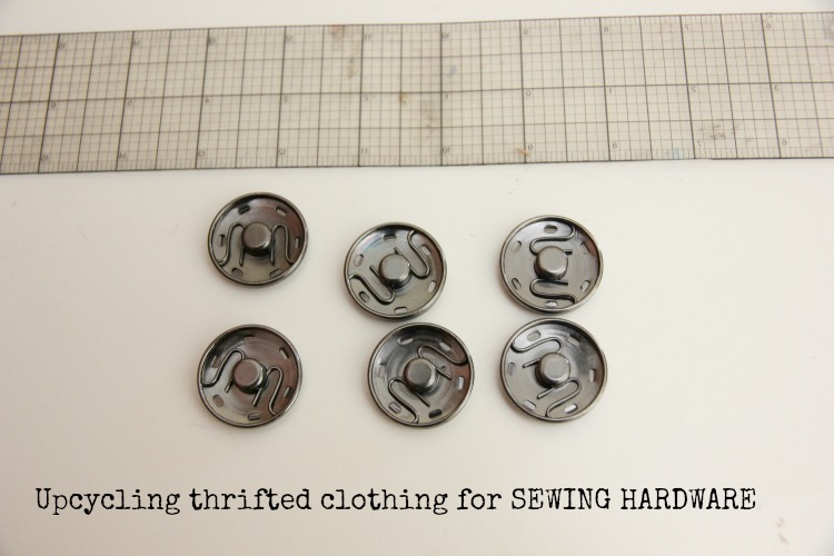 Upcycling thrifted clothing for sewing notions and bag hardware